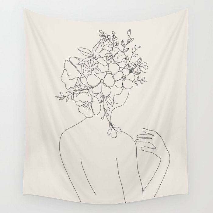 Woman with Flowers Minimal Line II Wall Tapestry