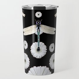 SURREAL WHITE DRAGONFLIES FLOWERS BLACK COLOR PATTERNS Travel Mug