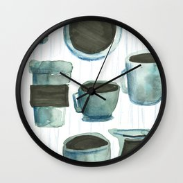 coffees watercolor Wall Clock