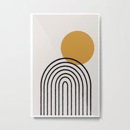 Rainbow, Gold Sun,  Metal Print