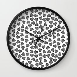 Hand Drawn Black Striped Hearts Wall Clock