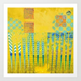 Yellow & Turquoise Abstract Art Collage Art Print