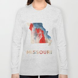 Missouri map outline Red Blue nebulous watercolor Long Sleeve T-shirt
