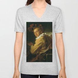 Jean-Honore Fragonard - Monsieur de la Bretche (Fanciful Figure) Unisex V-Neck