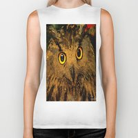 owls Biker Tanks featuring Owls by Ganech joe