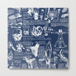 Da Vinci's Anatomy Sketchbook // Regal Blue Metal Print
