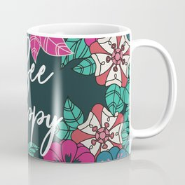 Bee Happy Blossoms Floral Art Coffee Mug