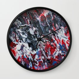 black red white blue abstract paint Wall Clock