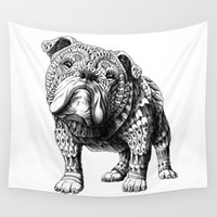 bulldog Wall Tapestries featuring English Bulldog by BIOWORKZ