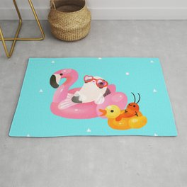 Cory cats in the swimming pool 2 Rug