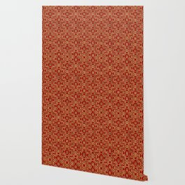 Chinese Pattern Double Happiness Symbol Gold on Red Wallpaper