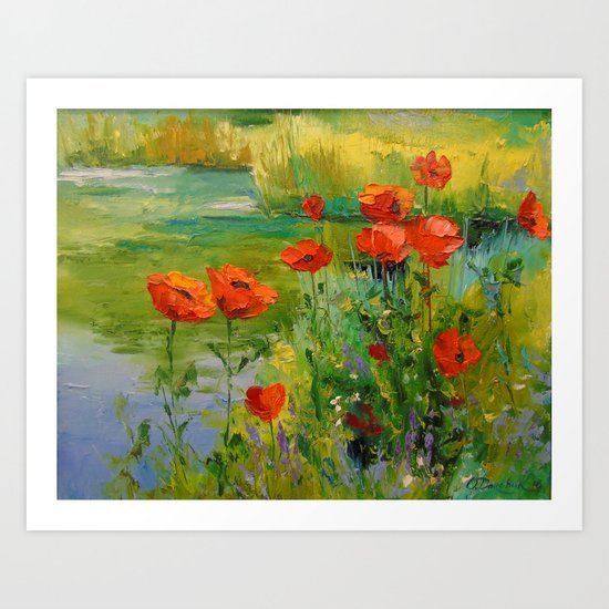 Poppies by the pond Art Print