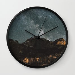 Space Night Mountains - Landscape Photography Wall Clock