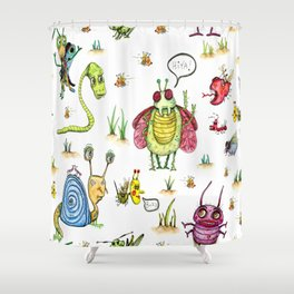 whimsical bug watercolor Shower Curtain