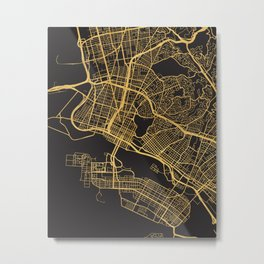 OAKLAND CALIFORNIA GOLD ON BLACK CITY MAP Metal Print