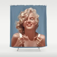 monroe Shower Curtains featuring Marilyn Monroe by Tayfun Sezer