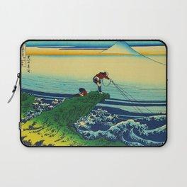 Vintage Japanese Art - Man Fishing Laptop Sleeve