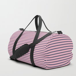 Pink and Navy Blue Horizontal Stripes Duffle Bag