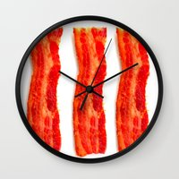 bacon Wall Clocks featuring Bacon by Spotted Heart