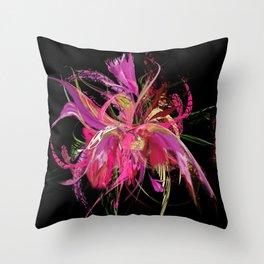 Pink flow blackish by Mia Throw Pillow