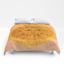 Sun Drawing Gold and Pink Comforters