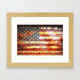 American Flag On Rusted Riveted Metal Door Framed Art Print