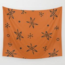 Atomic Era Space Age Burnt Orange Wall Tapestry