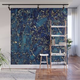 Dark blue stone marble abstract texture with gold streaks Wall Mural