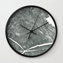 Locust Tree ring image, woodcut print Wall Clock