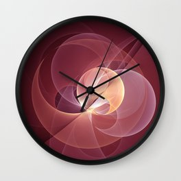 Movement, Abstract Wine Red Fractal Art Wall Clock