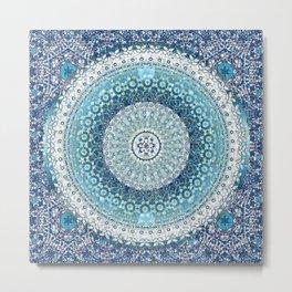 Teal Tapestry Mandala Metal Print