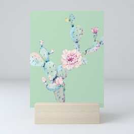 Rose Desert Cactus Mint Green + Pink Mini Art Print
