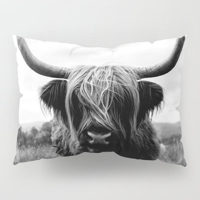 Scottish Highland Cattle Black and White Animal Pillow Sham