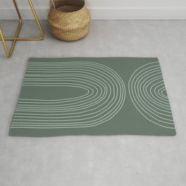 Handdrawn Geometric Lines in Forest Green Rug