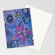 Purple Flowers Background Stationery Cards