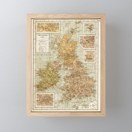 Vintage Map of Great Britain and Ireland, 1947 Framed Mini Art Print