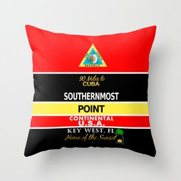 Key West Southernmost Point Buoy Throw Pillow