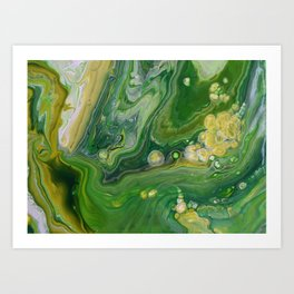 Take Five II -  Green Yellow Fluid Marble Painting Art Print