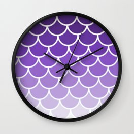 Ombre Fish Scale In Grape Wall Clock