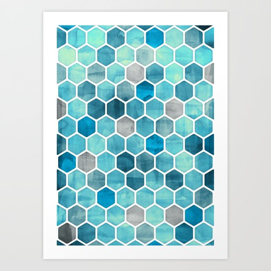 Blue Ink - watercolor hexagon pattern Art Print