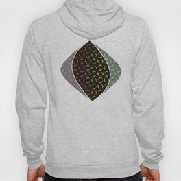 Pattern of multi-colored rhombuses and triangles. Hoody
