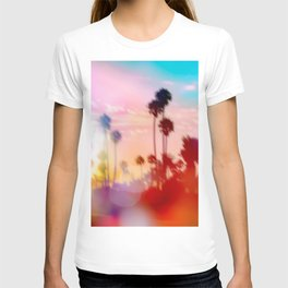 palm tree with sunset sky and light bokeh abstract background T-shirt