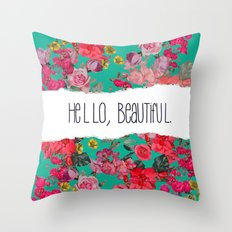 Hello, Beautiful. Vintage Floral Print with Teal Background, version 2. Throw Pillow