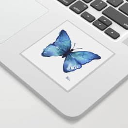 Blue Butterfly Watercolor Sticker