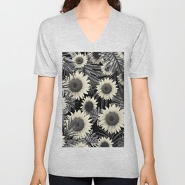 Tropical Sunflower Jungle Night Leaves Pattern #2 #tropical #decor #art #society6 Unisex V-Neck