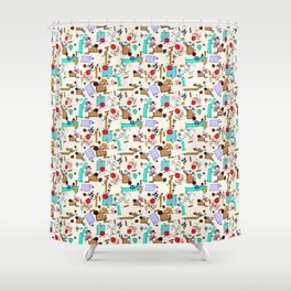 """Dialogue with the Dog - R01 - """"Friends"""" Shower Curtain"""