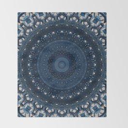 Mandala in light and dark blue tones Throw Blanket