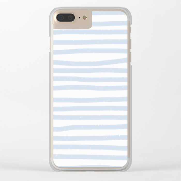 Light Blue Stripes Horizontal Clear iPhone Case