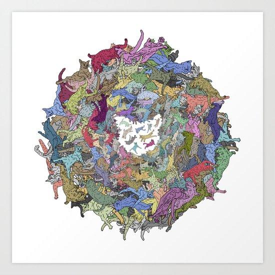 Cats Donut Galaxy - Rainbow Earth Art Print