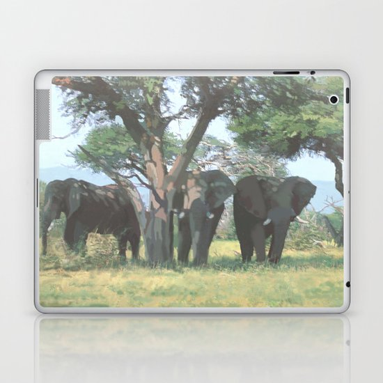 Elephants resting at noon Laptop & iPad Skin
